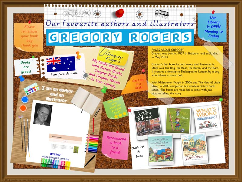 Library Poster - Gregory Rogers Australian Author Illustrator Of Books