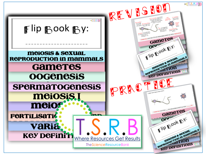 Meiosis & Mammal Reproduction Revision  and Task Fill Flip Book (AS)