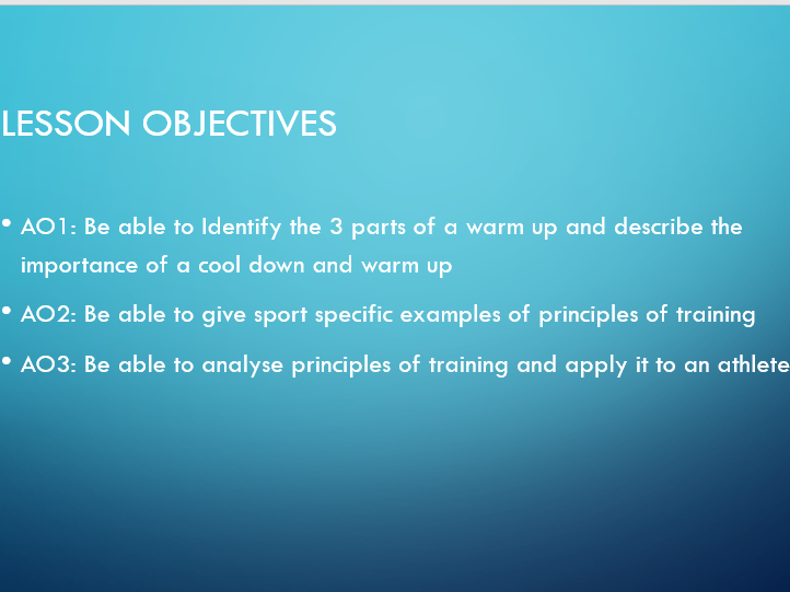 GCSE PE - Principles of Training - Warm Up & Cool Down Theory