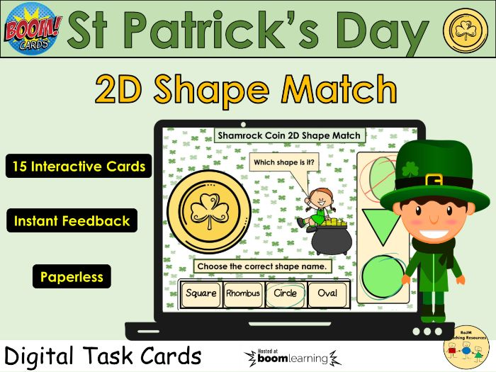 St Patricks Day 2D Shape Matching Boom Cards™ Distance Home Learning YR KS1