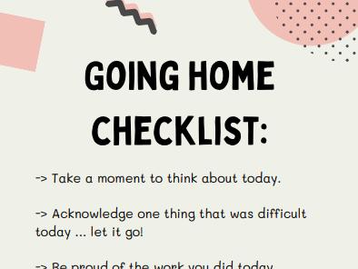 Going home checklist