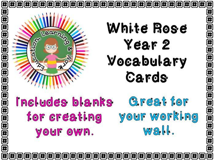 Maths Vocabulary Cards - Year 2 White Rose - Autumn Term