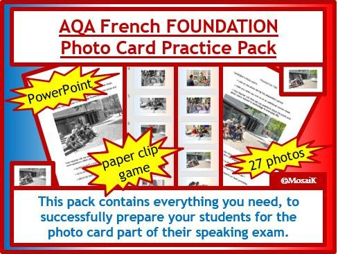 AQA French GCSE Speaking FOUNDATION photo card pack