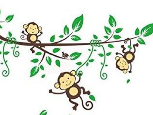 Three cheeky monkeys swinging in a tree (Nursery rhyme)