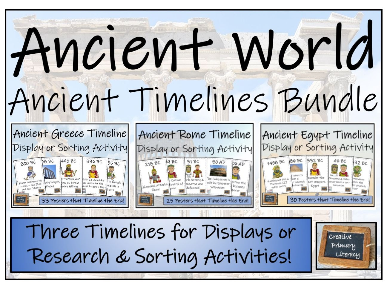 Ancient World Timeline Display, Research and Sorting Activity Bundle