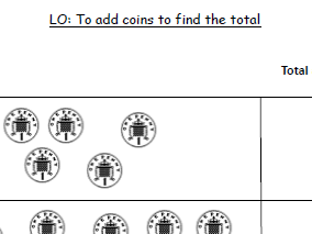 Money - Find the total worksheet