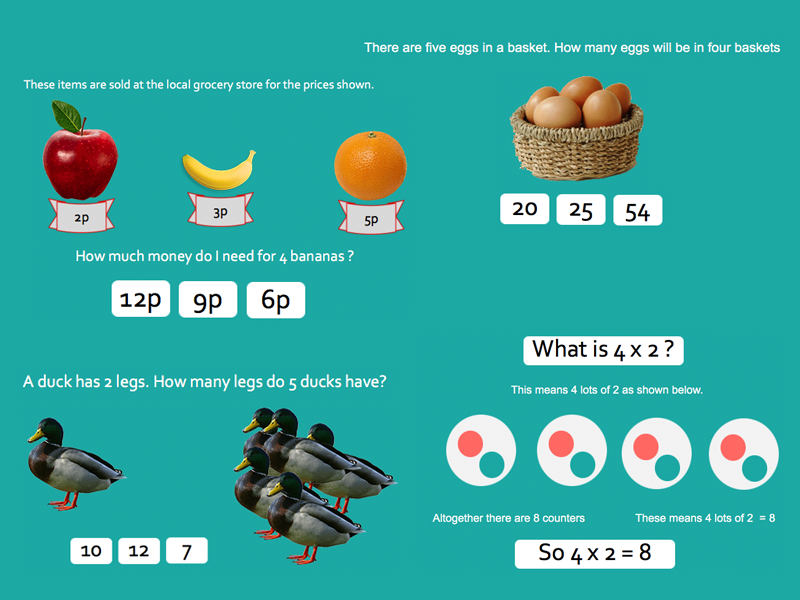 Multiplications - Year 1 Key stage 1 Powerpoint lesson