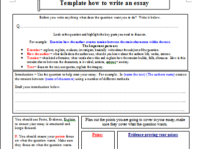 essay writing template by gobadine teaching resources tes