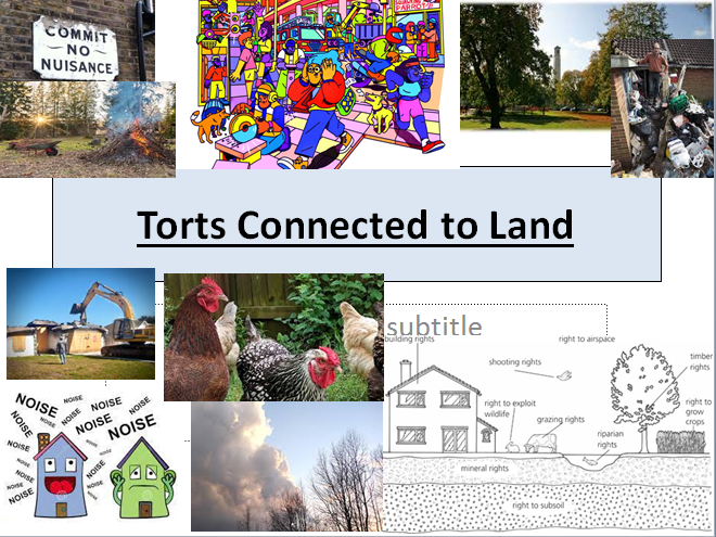 Tort Law-(OCR A LEVEL LAW NEW SPEC)Torts Connected to Land: Public/Private/Rylands V Fletcher