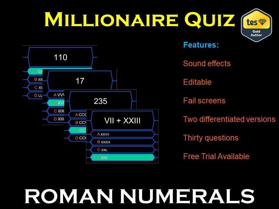 Millionaire Quiz! (Roman Numerals Edition)