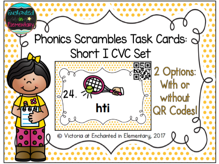 Phonics Scrambles Task Cards: Short i CVC Set