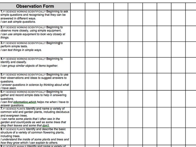 2014 National Curriculum Year 1 Science Assessment recording grid