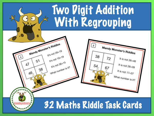 Maths Riddles Task Cards - Two-Digit Addition - With Regrouping