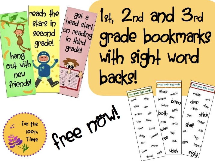 Bookmarks for 1st, 2nd, and 3rd graders!
