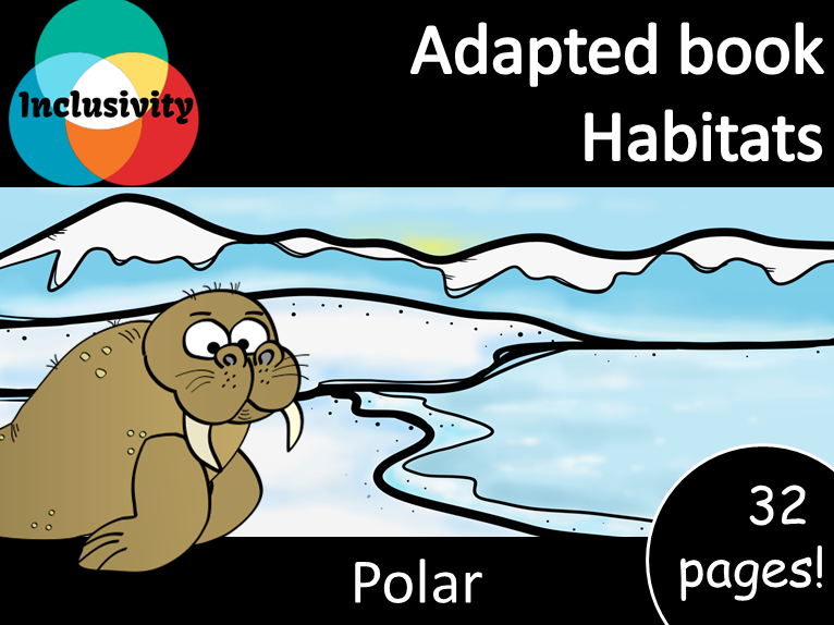 Adapted book habitat Polar level 1, 2 and 3; matching activity and animal sort