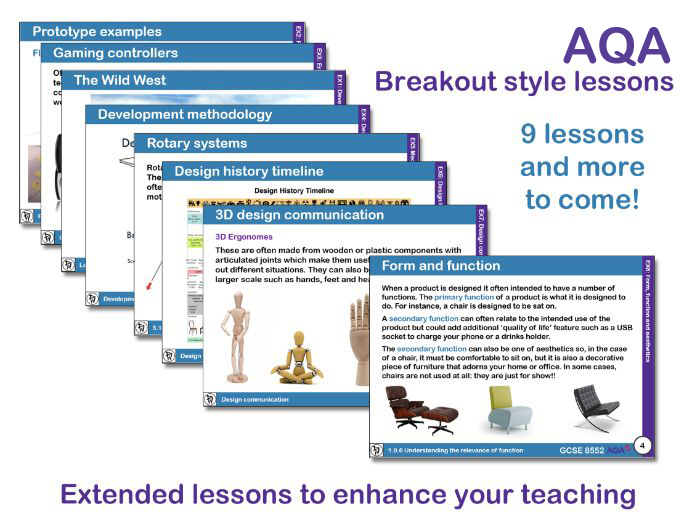 AQA GCSE D&T Theory: breakout lessons