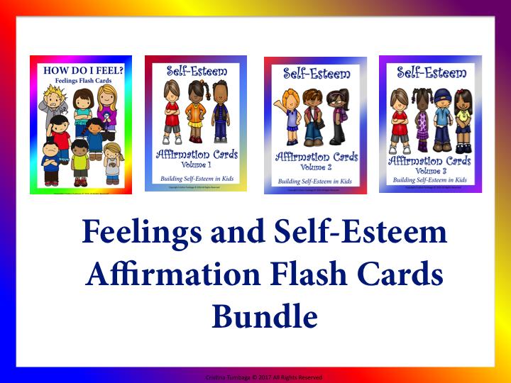Self-Esteem Affirmation and Feelings Flash Cards Bundle