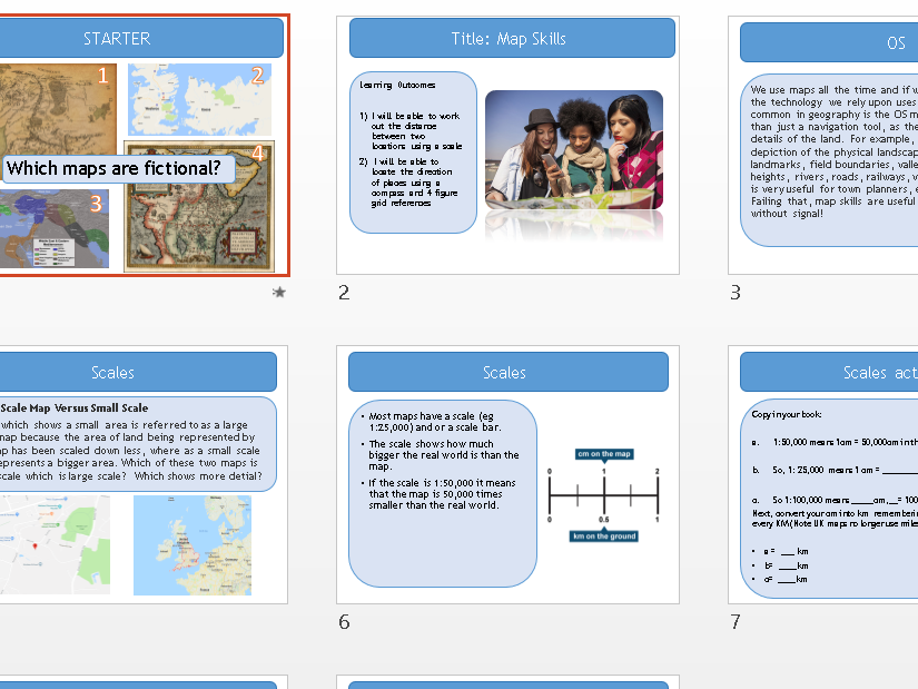 Map Skills - Geography Entry Level Topic 1 -Our World  - OCR R407