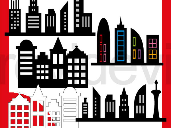 Superhero Skyline Buildings Clip art - Silhouette building block clipart