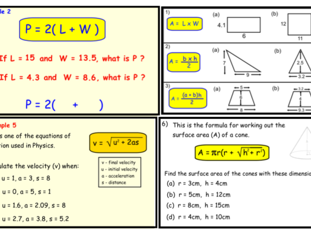 Substitution into Formulae. (notebook)