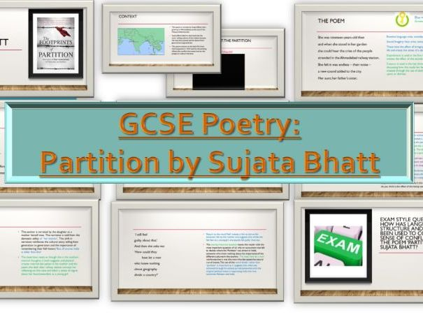 GCSE (9-1) Conflict Poetry: Partition by Sujata Bhatt (OCR/Unseen)