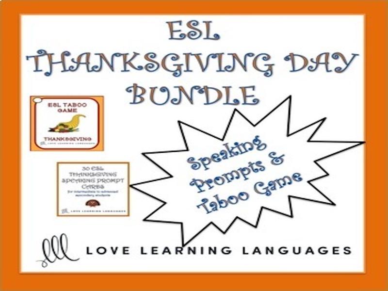 ESL - ELL Thanksgiving Games and Speaking Activities Bundle