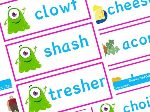 Phonics Screening Check Resources | Phonics Real and Alien Words with Pictures