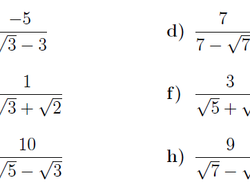 Rationalising the denominator  harder worksheet (with solutions)