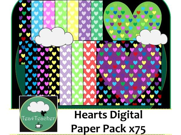 Hearts Digital Papers x75 - Great Colourful Range of Digital Heart Scrapbooking Paper