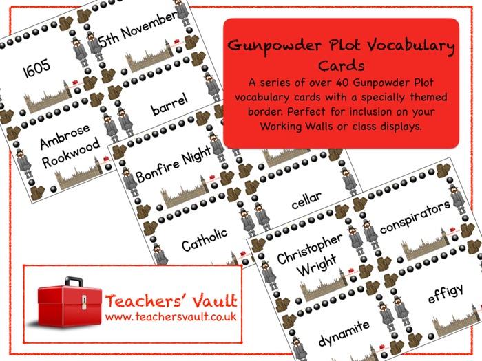 Gunpowder Plot Vocabulary Cards