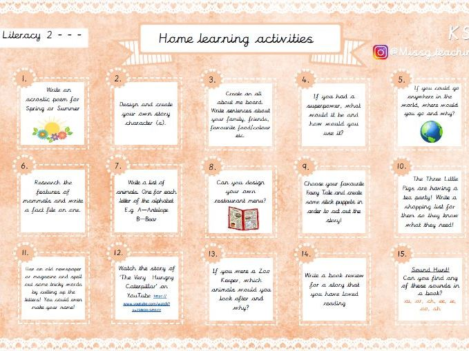 Home Learning Activities - Literacy 2