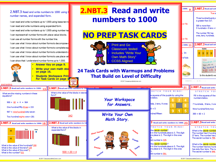 2nbt3 Math No Prep Task Cards Read And Write Numbers To 1000 For