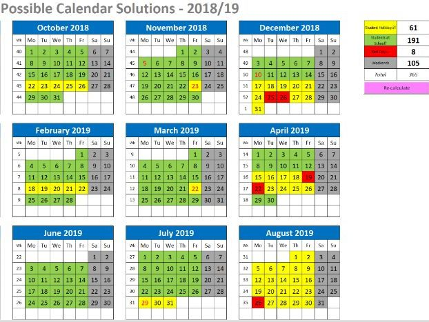 Interactive Calendar - School Term Dates Calculator
