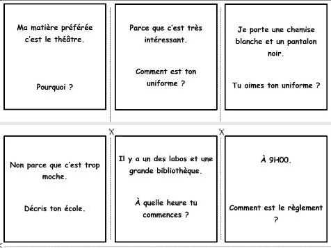 French game: questions and answers (school)