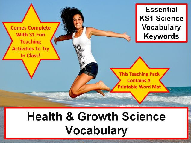 KS1 Health and Growth Science Vocabulary and Spelling Lists + Word Mat + 31 Teaching Activities