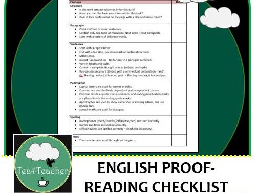 English Editing Checklist - Handy Worksheet Listing Items for Students for Proofreading Writing