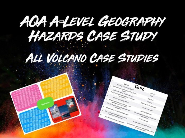 AQA A-Level Geography Hazards All Volcano Case Studies with Quiz