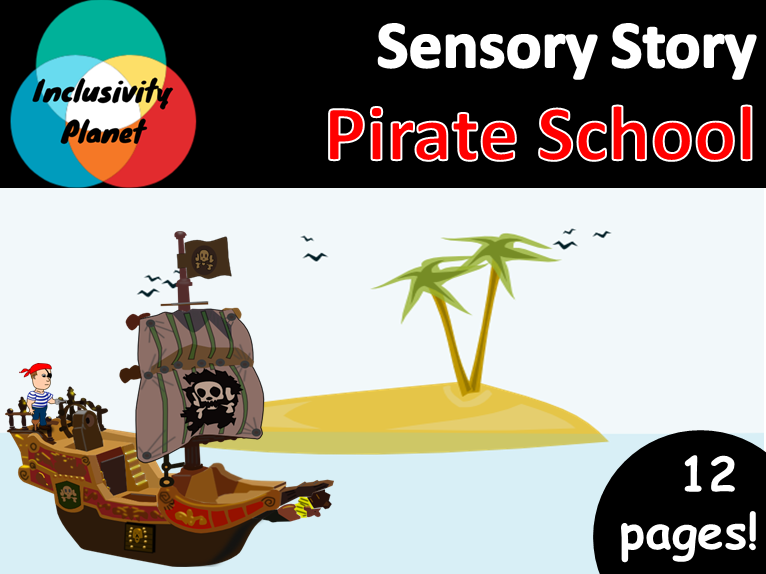 Pirate School SENSORY STORY including vocabulary cards/sequencing and guide
