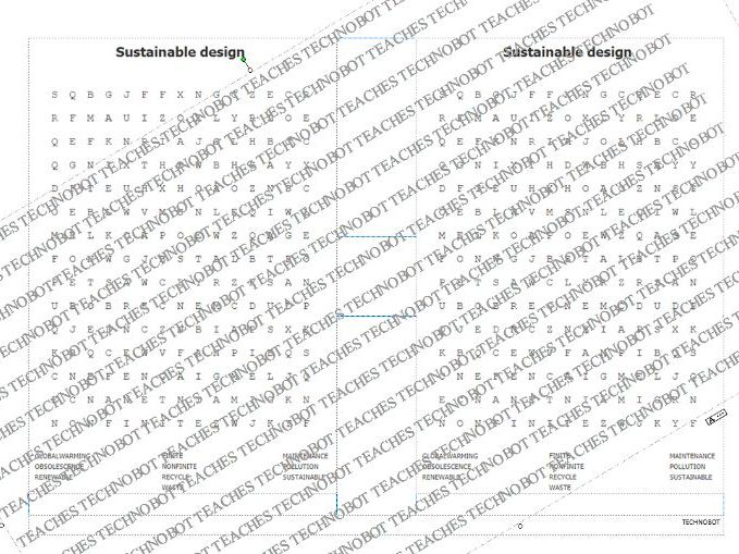 Sustainable design wordsearch