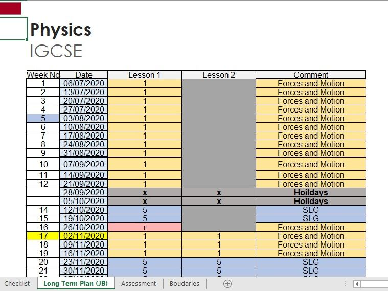 IGCSE Physics Checklist and Long Term  Plan