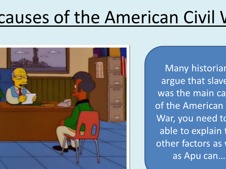 2 lessons on the causes of the American Civil War for the new GCSE
