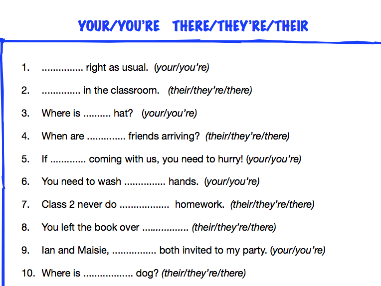 KS2 worksheet: your/you're; their/there/they're