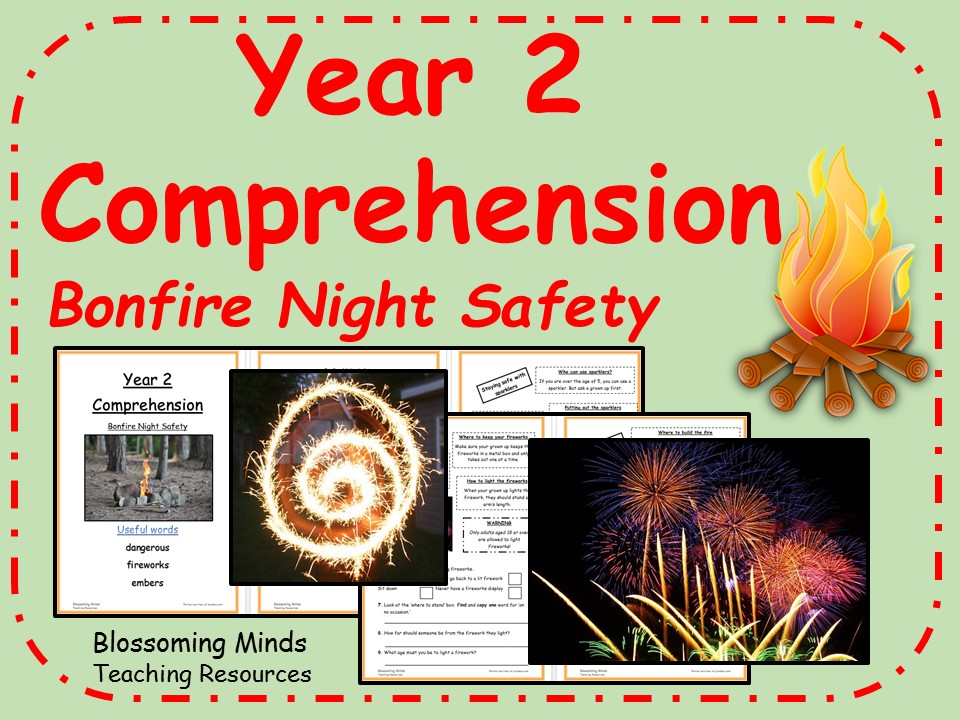 Year 2 non-fiction comprehension - Bonfire and Fireworks safety