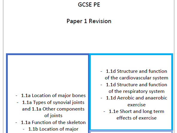 OCR GCSE PE Paper 1 Revision and Practice Question Booklet - With answers