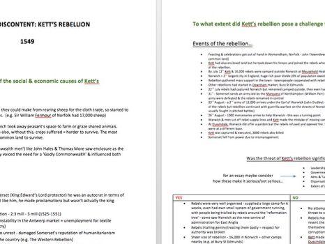 Kett's Rebellion 1549 Notes - A Level History - TUDORS - PAPER 3