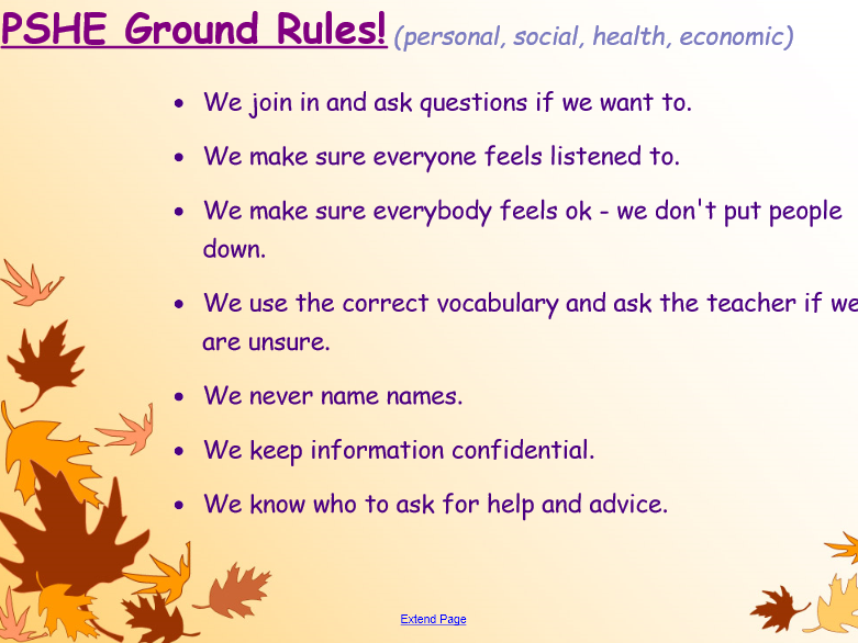 Year 3 PSHE Ground Rules