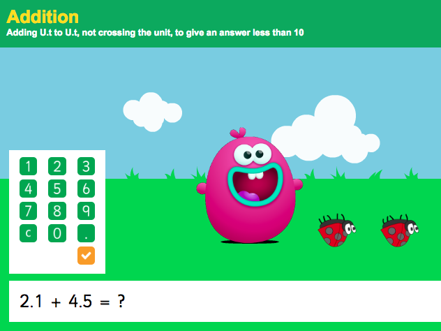 Addition with Decimals: Tenths - Interactive Game 6 - KS2 Number