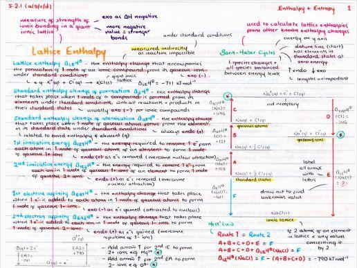 OCR A Level Chemistry Enthalpy & Entropy Revision Poster ...