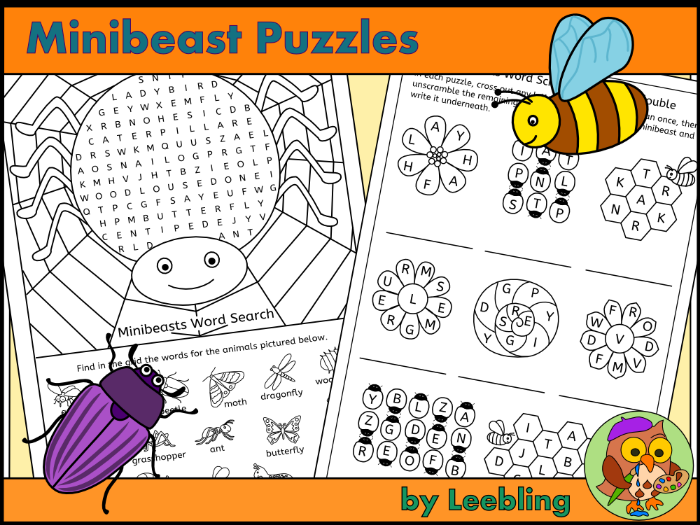 Minibeast puzzles - Insect and bug crossword, word search and more