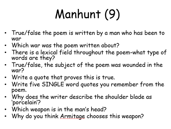 EDUQAS Anthology Poetry Revision